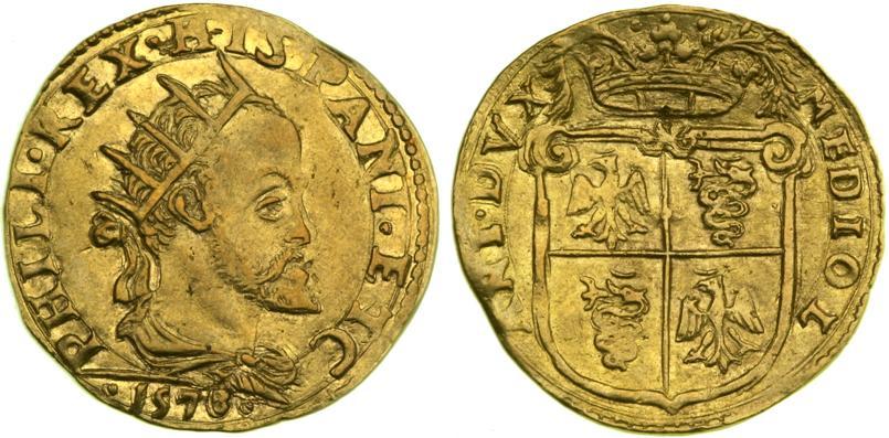 Moneda de dos ducados de Felipe II de 6,40 gramos de oro